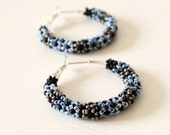 Silver Small Hoops Earrings , Glass Seed Beads Earrings, Boho Chic Jewelry