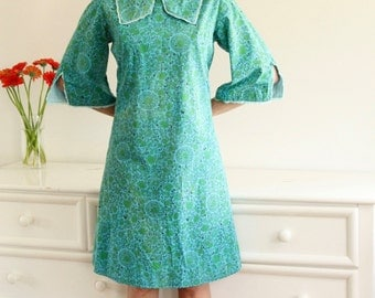 1960's Subtly-Psychodelic Picot Edged Peter Pan Collar Shift