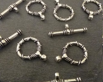 5 Sets Antique Silver Tone Tibetan Style Toggle Clasps
