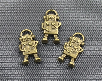 20pcs Robot Charm Antique Bronze Tone 10x17mm - BH294