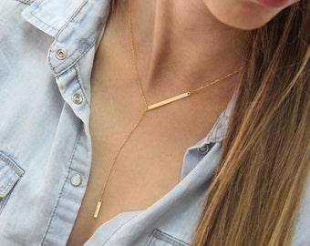 Gold Bar Lariat / Gold Lariat Necklace / Gold Delicate Y Necklace / Gold V Necklace / Gold Bar Drop Bar Lariat Necklace