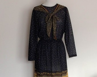1980s Sheer Black and Gold Long Sleeved Dress