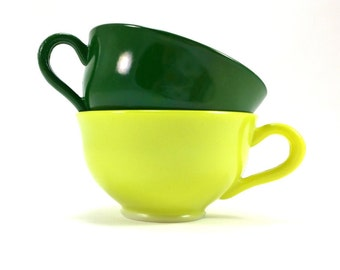 Vintage Hazel Atlas Ovide Platonite Tea Cups ~ Set of 2 (1940s)