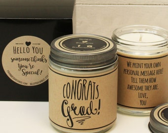 Congrats Grad! Soy Candle Gift - Personalized Graduation Gift | Class of 2016 Gift | Graduation Card | Class of 2016 Card | Scente Candle