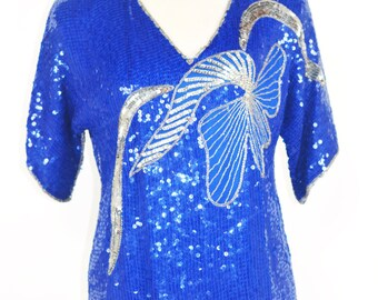 1970's Electric Blue Sequined Shirt by Jean for Joseph Le Bon