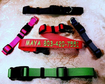 PERSONALIZED EMBROIDERED Dog Collars, Custom Made Sizes ,11 Colors,  ,Heavy Nylon,All Sizes, (Ships in 2 days or Less)
