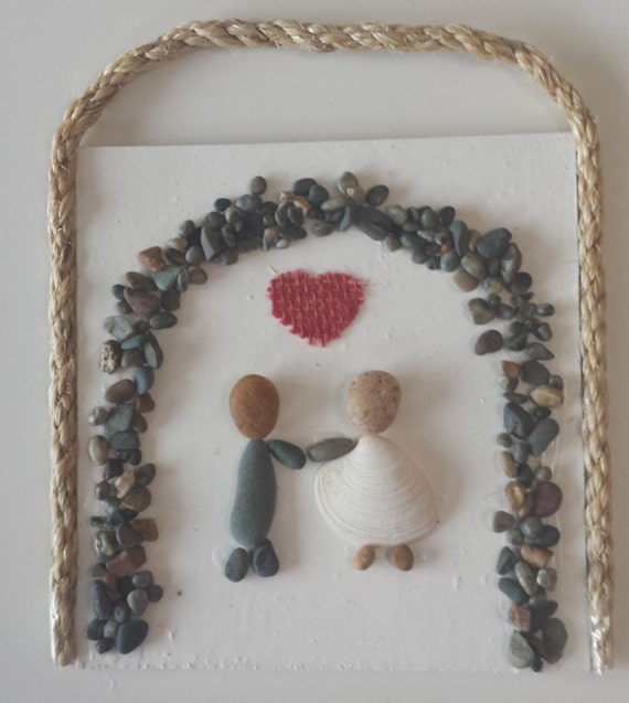 Stone Art Wedding Gift : Stone Art, Pebble Art, Rock Art, 3D Wall Art, Wedding Gift, stone art ...