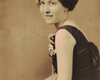 Vintage Sepia Portrait Photograph of Flapper Girl 1920s