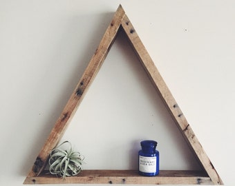 Large Geometric / Triangle wall shelf. Natural color of reclaimed wood