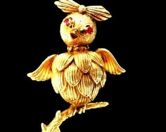 18k solid gold ruby bird brooch / pin