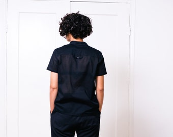 Women shirt with short sleeves in black