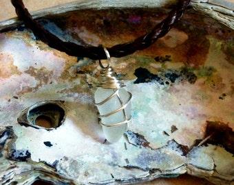 Sea Glass Pendant Necklace | White/Silver