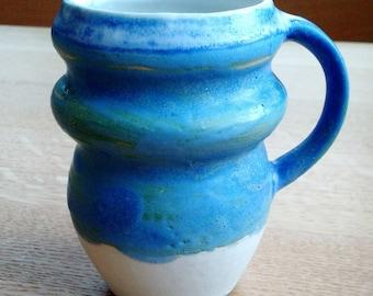 Hand made 12 oz sky and green ceramic mug