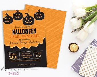 Printable Pumpkins Halloween Invitation Haunted House Party Halloween Invite Black Orange Holiday Costume Party Double sided Card - HI016