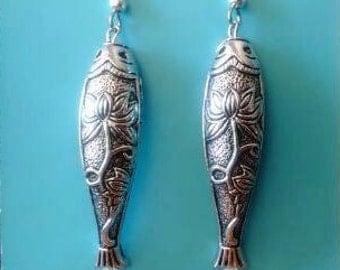 FISH EARRINGS Silver Fish Earrings Fish Jewelry Silver Earrings Salmon Fish Earrings Beach Earrings Nautical Jewelry Sea Earrings Fish Gift