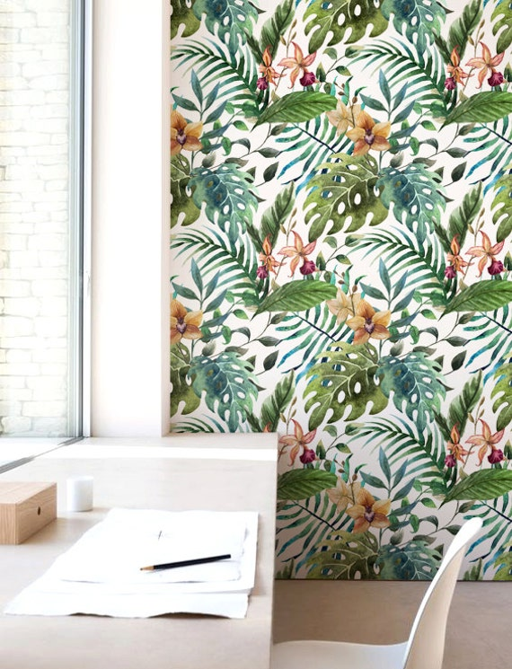 Floral wall d cor jungle leaf wallpaper removable wallpaper - Decoration adhesif mural ...
