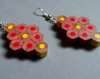 Pencil earrings; Earrings; Gift For Her; Colour Pencils; Handmade; Jewerly; Red earrings