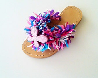 Pink Sandals, Beaded Shoes, Butterfly Sandals, Colorful Sandals, Beaded Sandals, Leather Shoes, Summer Sandals