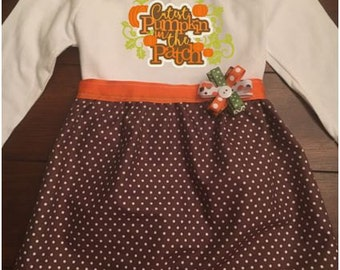 Cutest Pumpkin in the Patch Toddler and Girls Dress, Toddler and Girls Fall Thanksgiving Dress, Toddler and Girls Pumpkin Patch Dress
