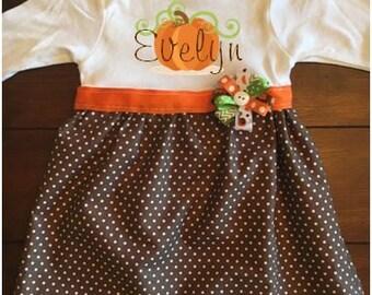 Personalized Pumpkin Baby Dress, Baby Fall Dress, Baby Thanksgiving Dress, First Thanksgiving Dress, Baby Pumpkin Patch Dress