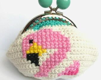 Flamingo cross stitch wallet