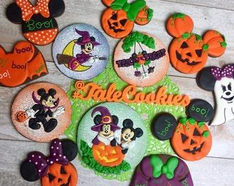 12 Halloween Mickey and Minnie Cookies (One Dozen)- Not-so-scary cookies, Halloween cookies, Mickey Mouse Cookies, Minnie Mouse cookies