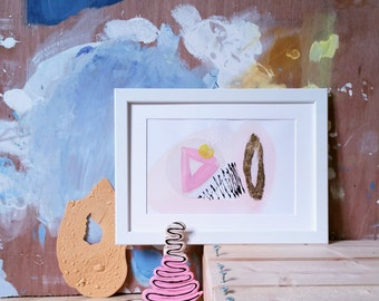 A4 contempoary fine art collage/painting ft pink,gold,yellow geometric meets organic forms