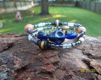 "Handmade, One of a Kind, Memory Wire, Glass Beaded, ""Purple Voodoo"", Bracelet"