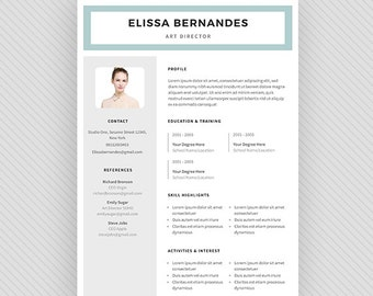 "Resume Template / CV Template + Cover Letter for MS Word and Photoshop | Instant Digital Download - ""Nashira"""