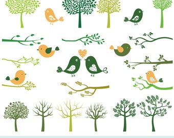 Tree bird clip art, Tree bird clipart, Love birds clip art, Tree silhouette clipart, Branch clipart, Bird tree digital set, Birdie clipart
