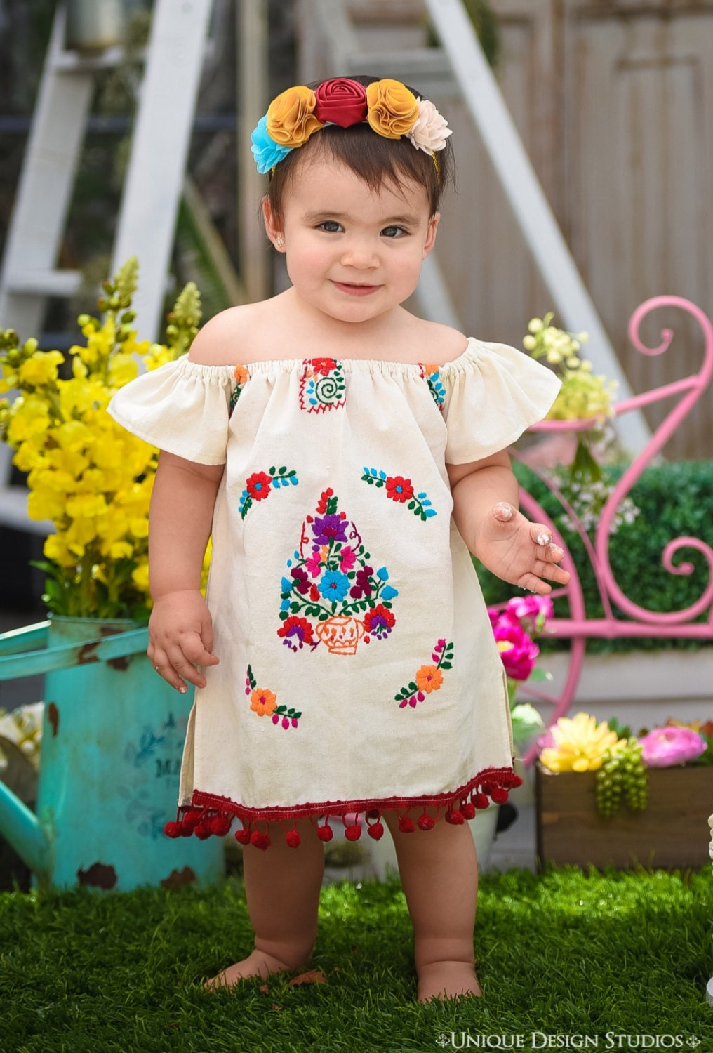 447dee4c7 Moni Mexican Embroidered off shoulder Fiesta Baby Dress