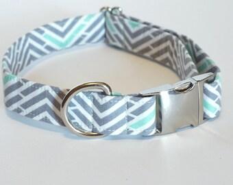 Gray/Mint Chevron Dog Collar