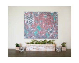 """Original Abstract Painting - heavy texture - acrylic on canvas - turquoise, coral, gray, and white - wall art - 16""""x20"""" by Kelsey Gift"""