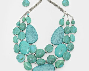 Three Strand Statment Turquoise Necklace