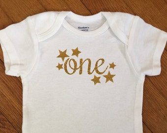 SALE! First Birthday Star Shirt, 1st Birthday Outfit, Glitter One Bodysuit, First Birthday Onesie®, 2nd Birthday, Birthday Party Photos