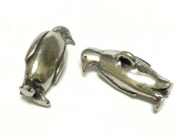 Danforth Penguin  Button, Silver Pewter, Metal Shank Button, 25mm