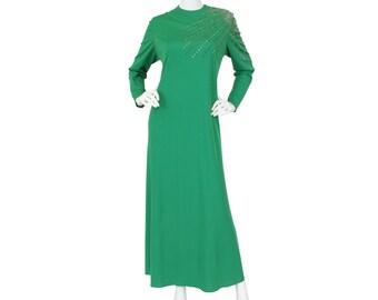 SALE Mollie Parnis 1960's Vintage Rhinestone Straburst Green Jersey Evening Dress Sz L