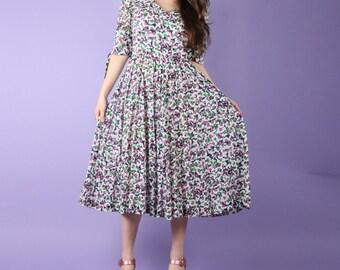 80s Vintage Floral Day Dress