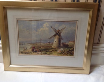 A 19th century watercolour of Lytham st Anne's Lancashire
