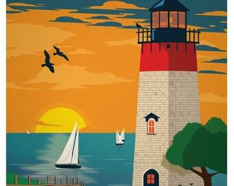 Travel Poster, Vintage Travel Poster, Travel, Vintage, Cape Cod, Summer