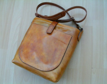 Shoulder bag, cross body in real leather