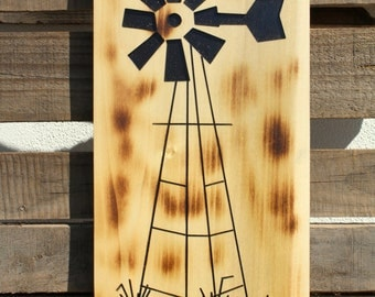 Rustic Home Decor, Carved wooden windmill wall art, Painted and burned for a rustic look. Father's Day Gift