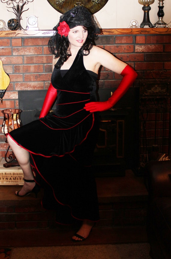 MARKED DOWN! Tango Dancing Lady, 5-Piece Costume, Dance or Theater Costume, Day of the Dead, Ballroom Dancer, Salsa, Flamenco, Size 8