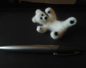 white needle felt polar bear cub