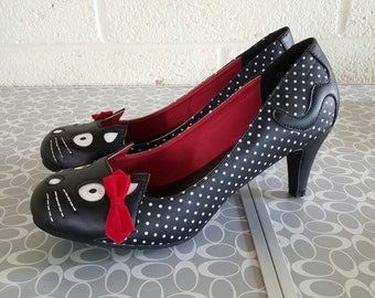 TUK Polka Dot Kitty Rockabilly Heels - 11