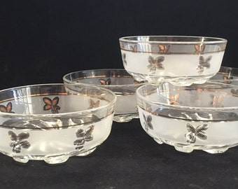 Set of 5 frosted gold wheat berry bowls, dessert bowls, vintage glass bowls