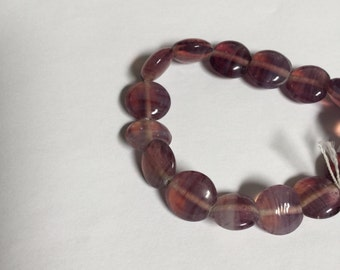 Purple Glass artisan made Coin Shaped Beads - 30 Pieces - #191