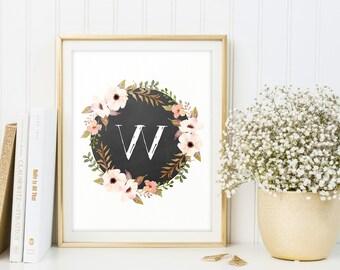 Initial print, Floral poster, Nursery art, Baby room ideas, Letters, Poster, Letter W, Printable, Flower monogram digital download, wall art