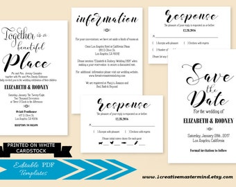 DIY Rustic Wedding Invitation Template Printable, Typography Invitation set, Save the date, rsvp, information, Instant Download, #1CM95-1