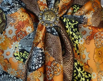 299silk - 100% SILK CHARMEUSE - Warm Tones of Black, Brown, Orange, Yellow & White